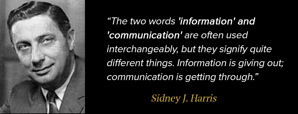 """The two words information and communication are often used interchangeably, but they signify quite different things."" -Sidney Harris"
